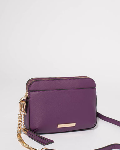 Purple Saffiano Jett Crossbody With Gold Hardware