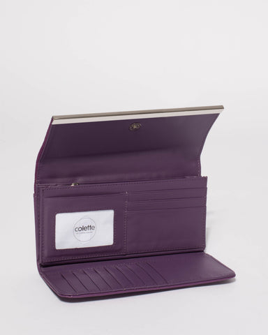Purple Textured Natalie Panel Wallet With Gold Hardware