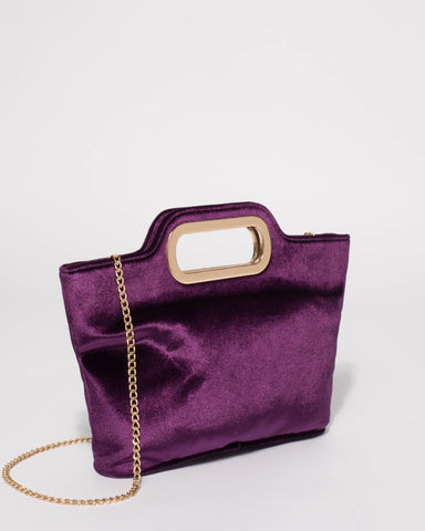 Purple Velvet Jessica Clutch Bag With Gold Hardware