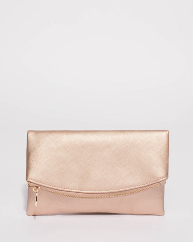 Rose Gold Zoe Fold Over Clutch Bag