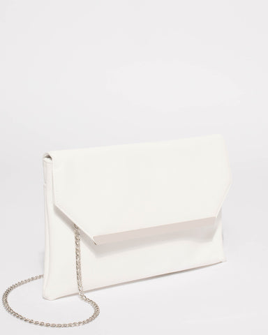 White Ginger Fold Over Clutch Bag