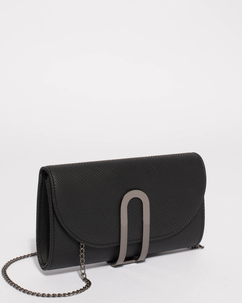 Black Shal Small Hardware Clutch Bag