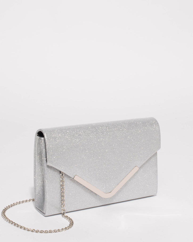 Silver Lila Envelope Clutch Bag