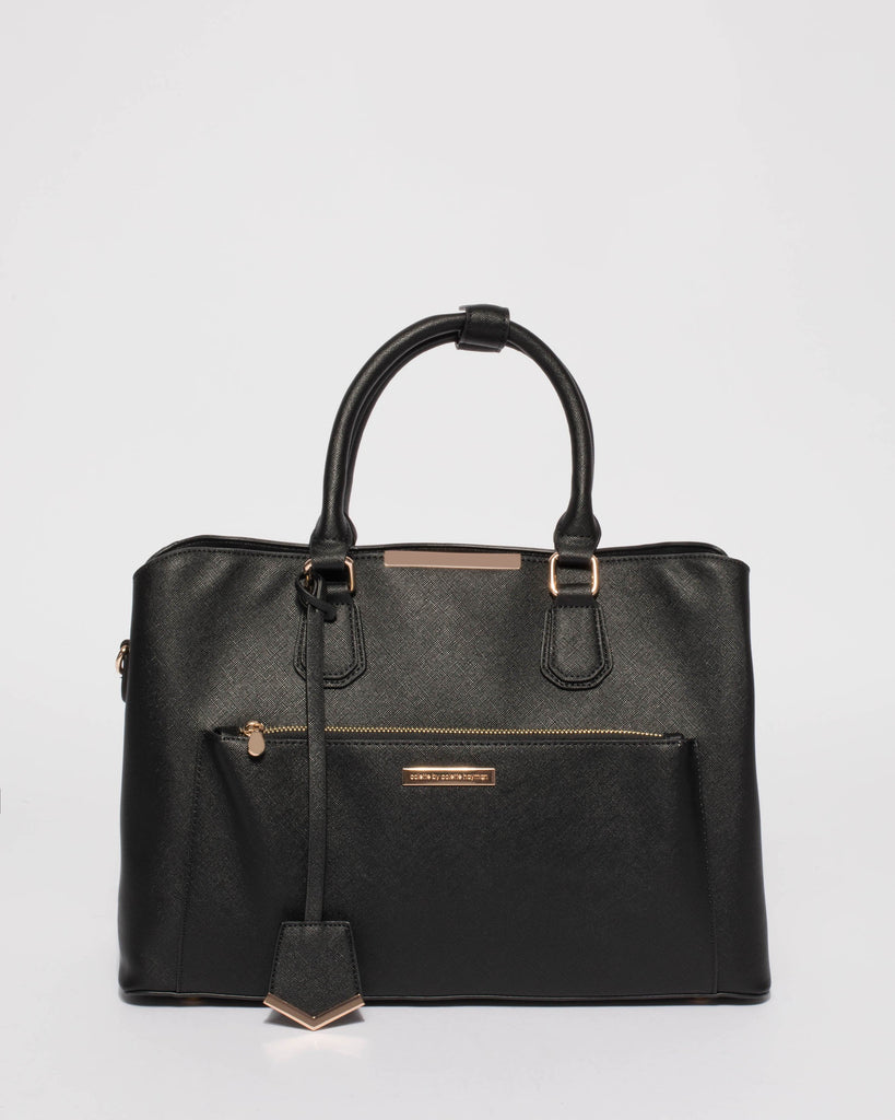 Black Saffiano Spencer Tech Tote Bag With Gold Hardware