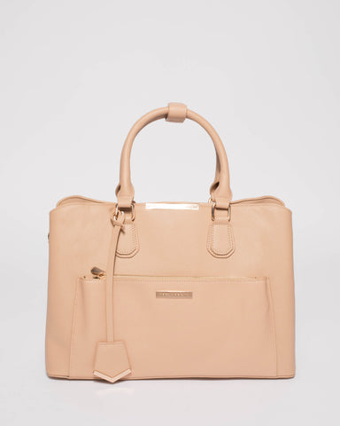 Beige Saffiano Spencer Tech Tote Bag With Gold Hardware