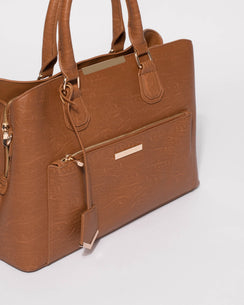 Tan Smooth Spencer Tech Tote Bag With Gold Hardware