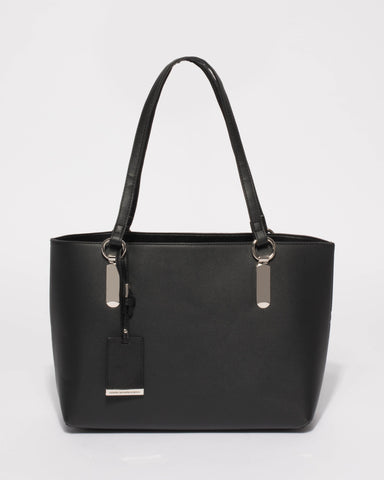 Black Angelina Medium Tote Bag With Silver Hardware