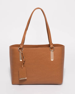 Tan Angelina Medium Tote Bag With Gold Hardware