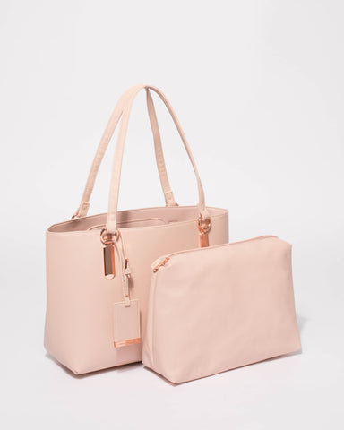 Pink Angelina Medium Tote Bag With Rose Gold Hardware