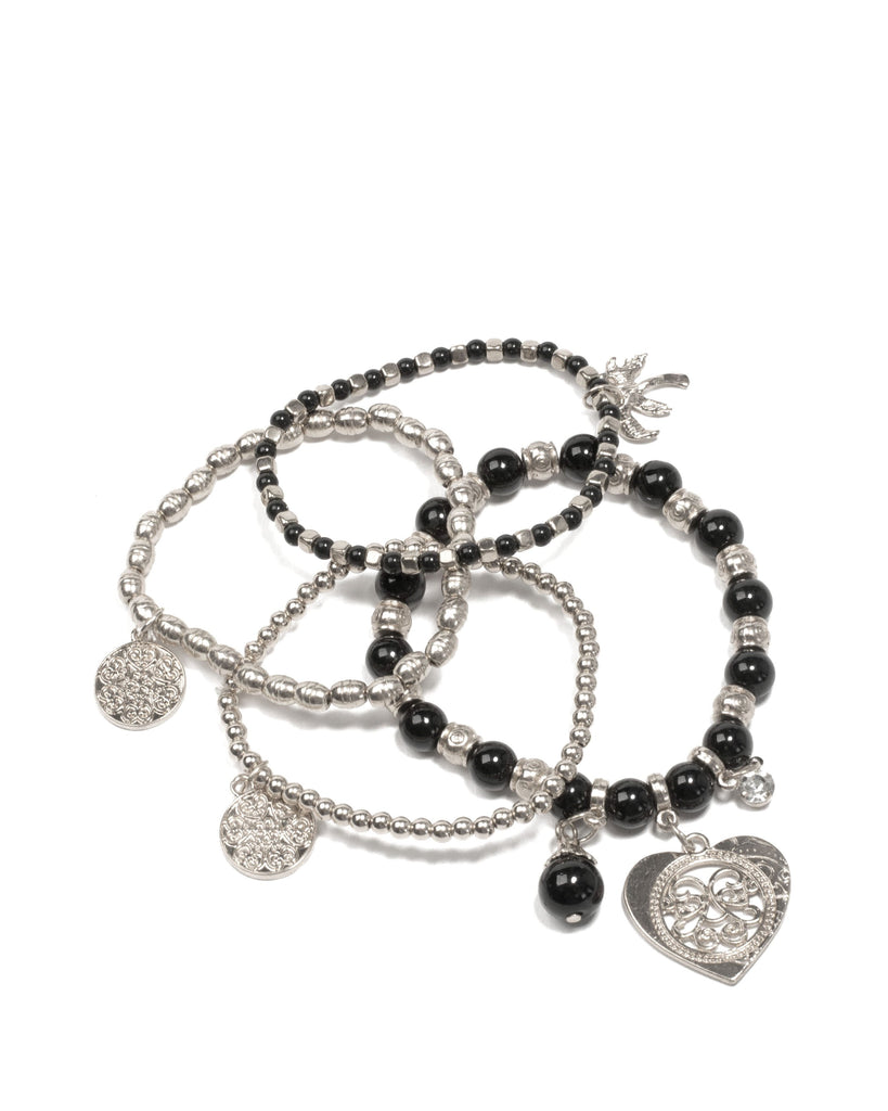 Black Silver Tone Beaded Palm Tree Charm Wristwear Pack