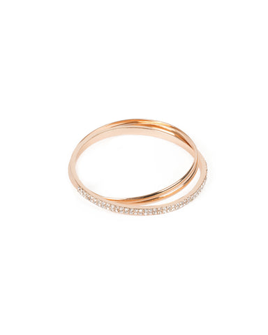 Crystal Gold Tone Diamante Solid Bangle Set