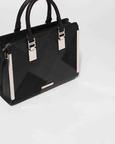 Black June Panel Tote Bag With Silver Hardware
