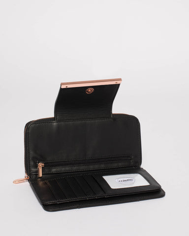 Black Blake Wallet With Rose Gold Hardware