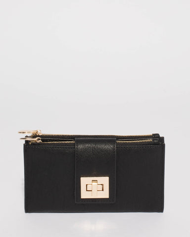 Black Greta Lock Wallet