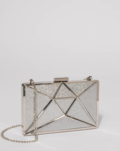 Silver Geometric Large Clutch Bag With Silver Hardware