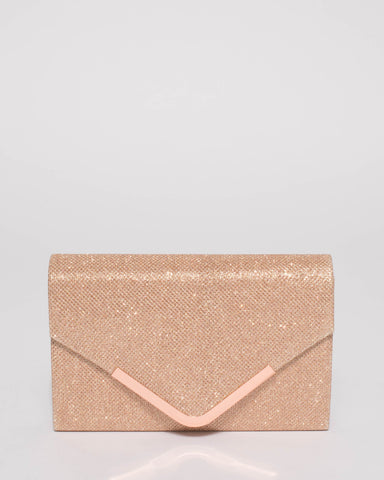 Rose Gold Glitter Lila Envelope Clutch Bag