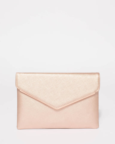 Rose Gold Saffiano Samantha Clutch Bag With Rose Gold Hardware