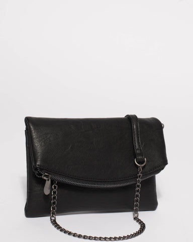 Black Smooth Zoe Foldover Clutch Bag With Gunmetal Hardware