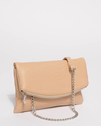 Beige Smooth Zoe Foldover Clutch Bag With Silver Hardware