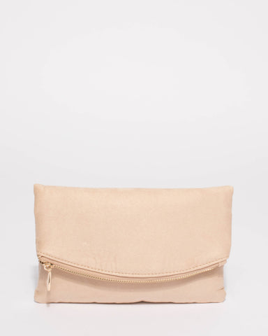 Beige Suedette Zoe Fold Over Clutch Bag With Gold Hardware