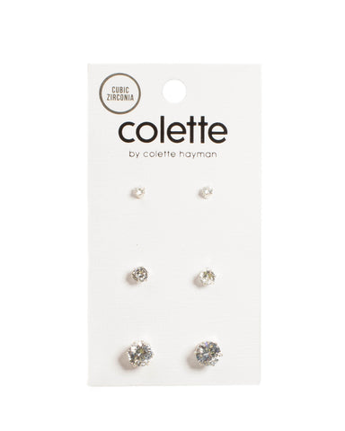 Crystal Silver Tone Round Diamante Earrings Pack