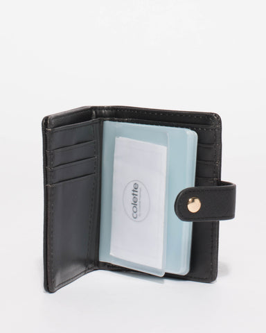 Black Credit Card Sleeve Purse With Gold Hardware