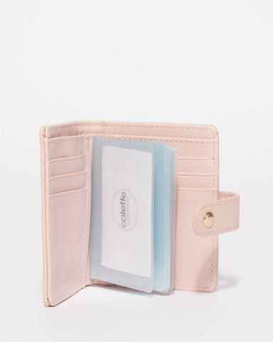 Pink Credit Card Sleeve Purse With Gold Hardware