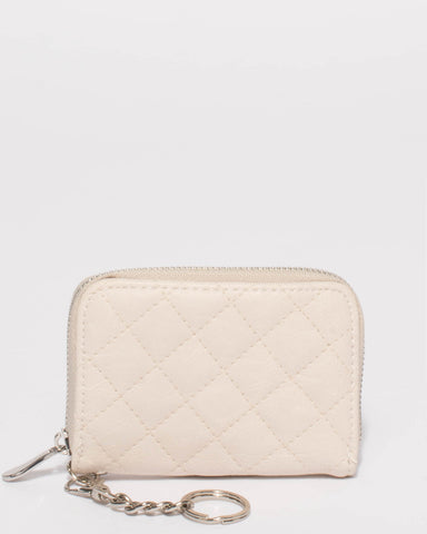 Ivory Kiara Quilted Keyring Purse