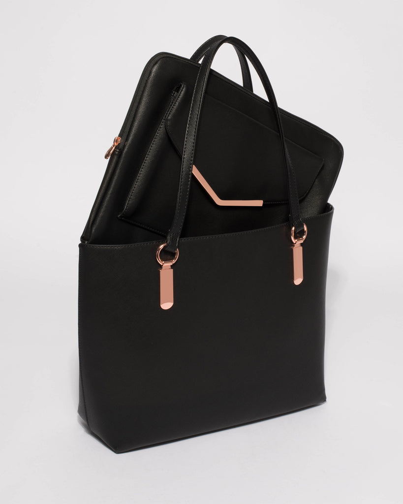 Black Saffiano Angelina Tote Bag With Rose Gold Hardware
