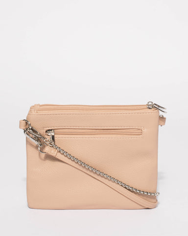 Beige Double Peta Chain Crossbody Bag With Silver Hardware