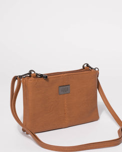 Tan Smooth Double Peta Pouch Crossbody Bag