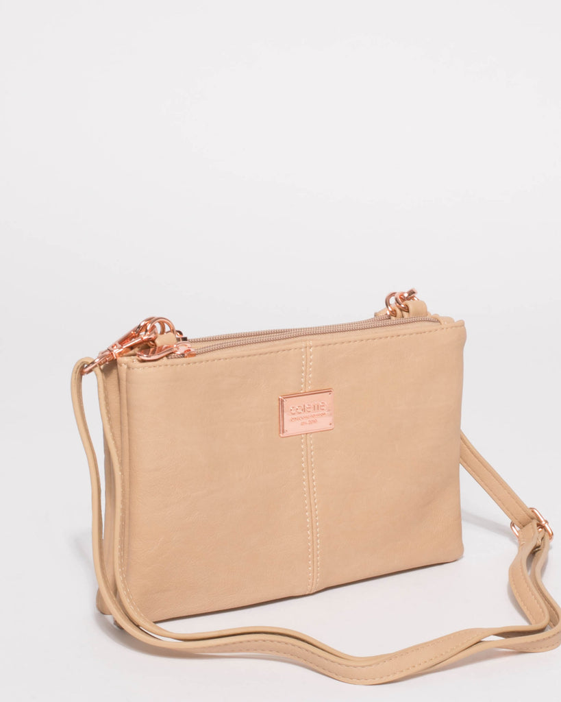 Beige Double Peta Crossbody Bag With Rose Gold Hardware