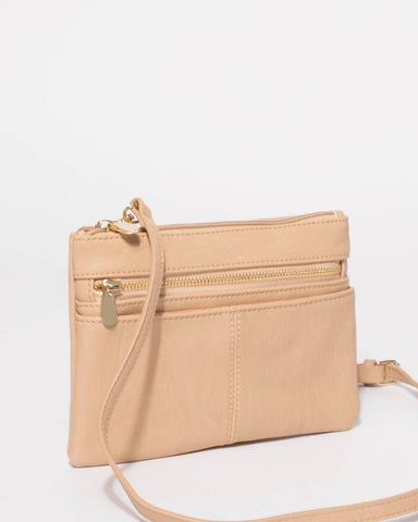 Beige Smooth Audrey Crossbody Bag With Gold Hardware