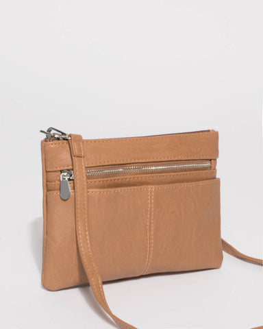 Caramel Smooth Audrey Crossbody Bag With Silver Hardware