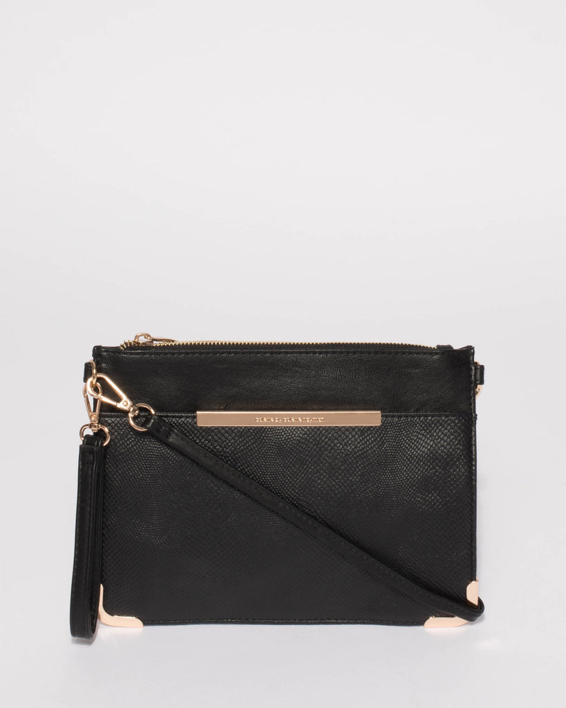 Black Textured Front Pocket Peta Crossbody Bag