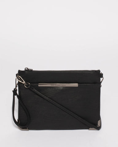 Black Front Pocket Peta Crossbody Bag