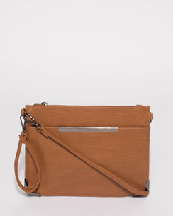 Tan Front Pocket Peta Crossbody Bag