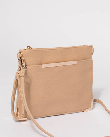 Beige Front Pocket Peta Crossbody Bag