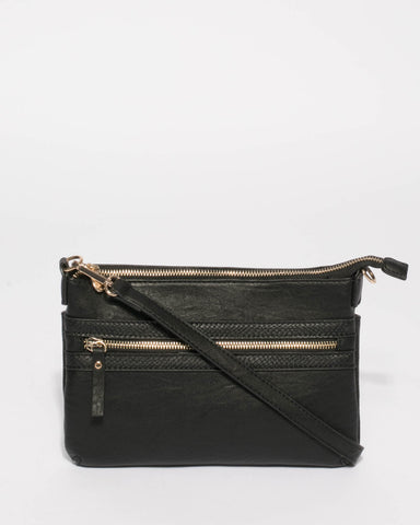 Black Large Zip Pocket Peta Crossbody Bag