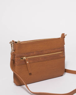 Tan Large Zip Pocket Peta Crossbody Bag