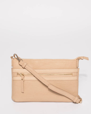 Beige Large Zip Pocket Peta Crossbody Bag