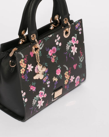 Black Floral Ella Medium Tote Bag