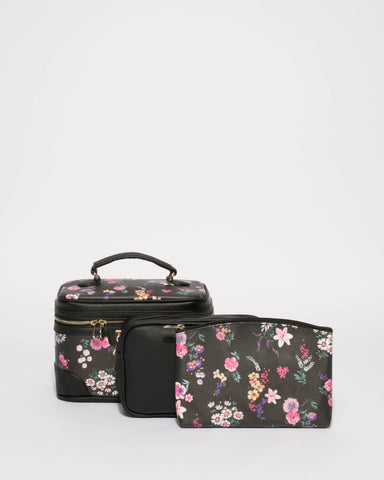 Black Floral Cosmetic Case Pack