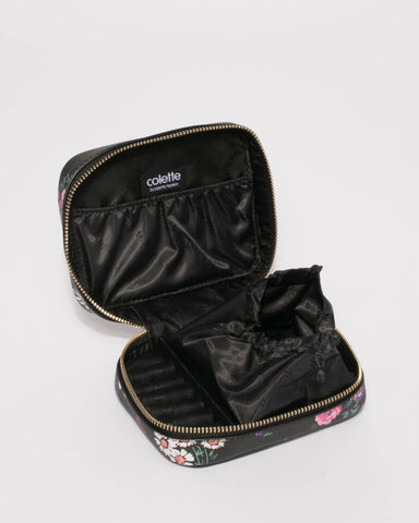Black Floral Jewel Organiser Case