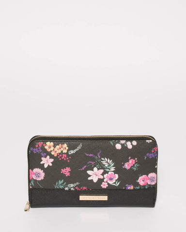 Black Floral Travel Multi Wallet