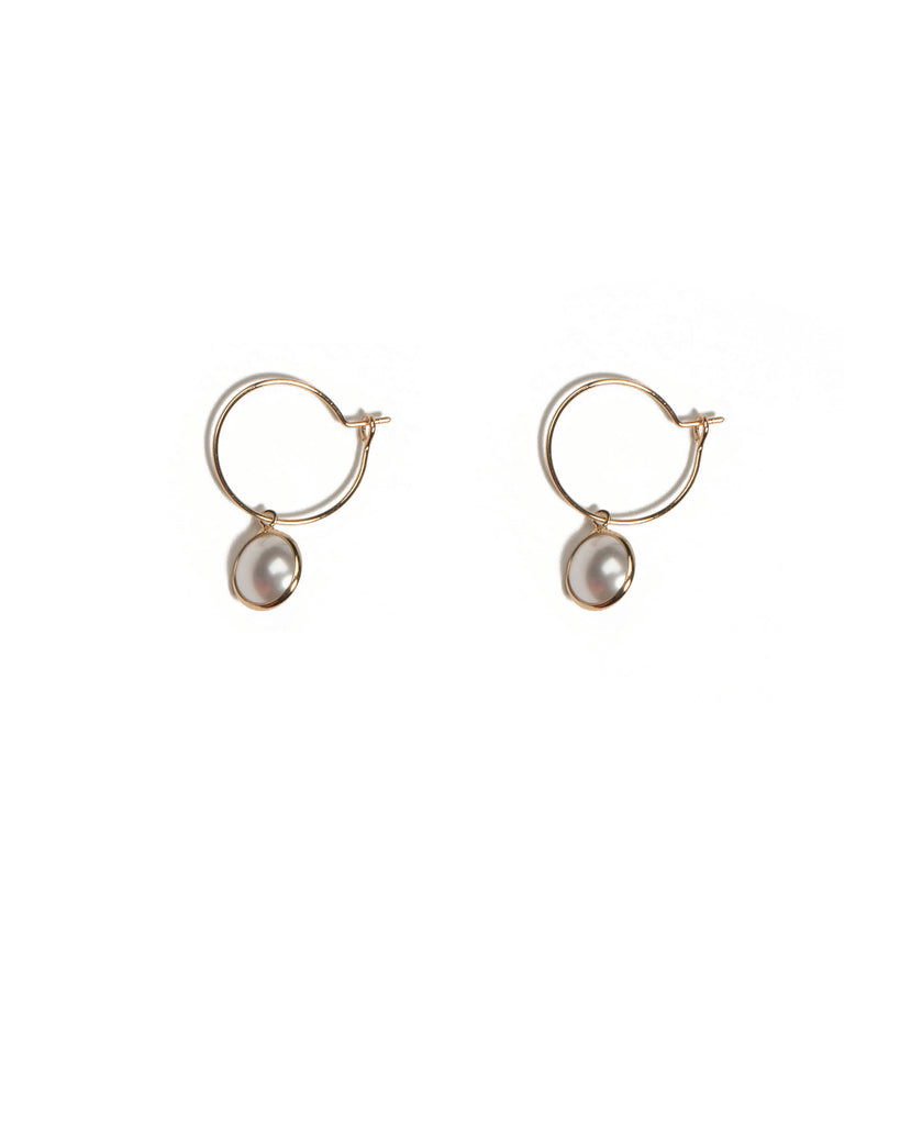 Ivory Gold Tone Hoop With Pearl Earrings