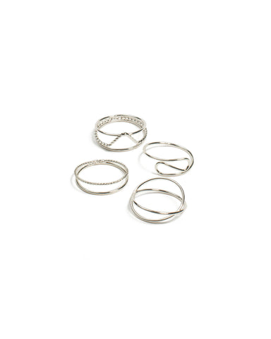 Silver Tone Fine Metal Pack Ring - Medium