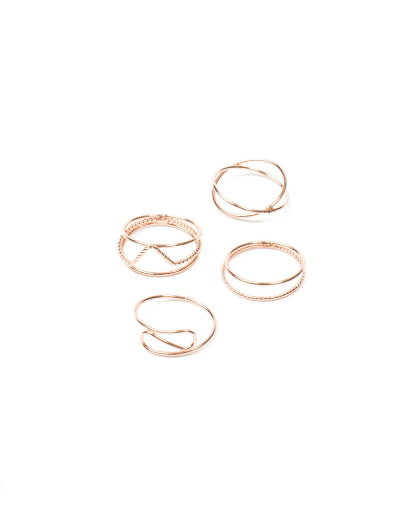 Rose Gold Tone Fine Metal Ring Pack - Large