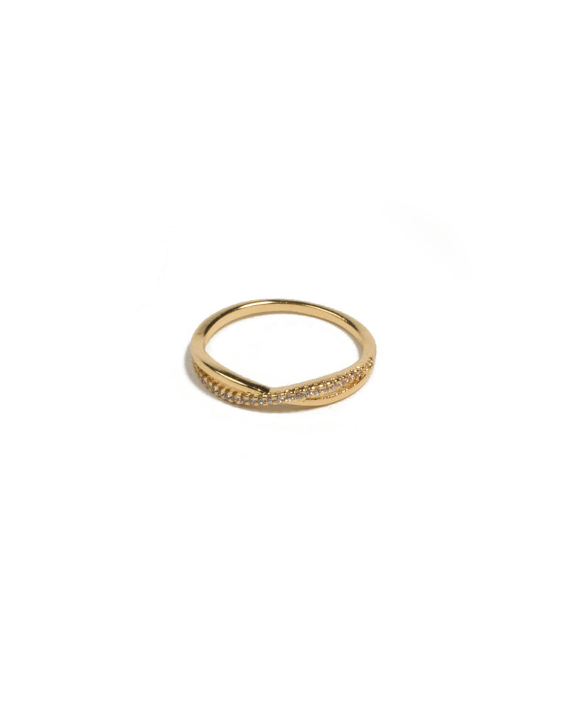 Cubic Zirconia Gold Plated Encrusted Twist Ring - Medium