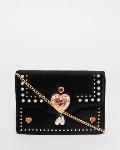 Bella Embellished Black Crossbody Bag